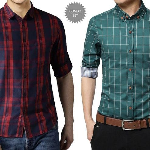 Pleasance Casual Wear Pure Cotton Shirts Pack Of 2