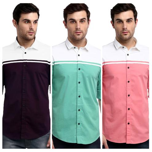 Pleasant Casual Wear Pure Cotton Shirts Pack Of 3