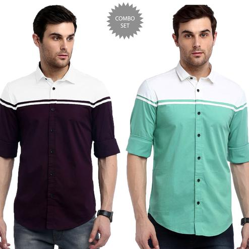 Opulent Casual Wear Pure Cotton Shirts Pack Of 2