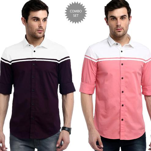 Energetic Casual Wear Pure Cotton Shirts Pack Of 2
