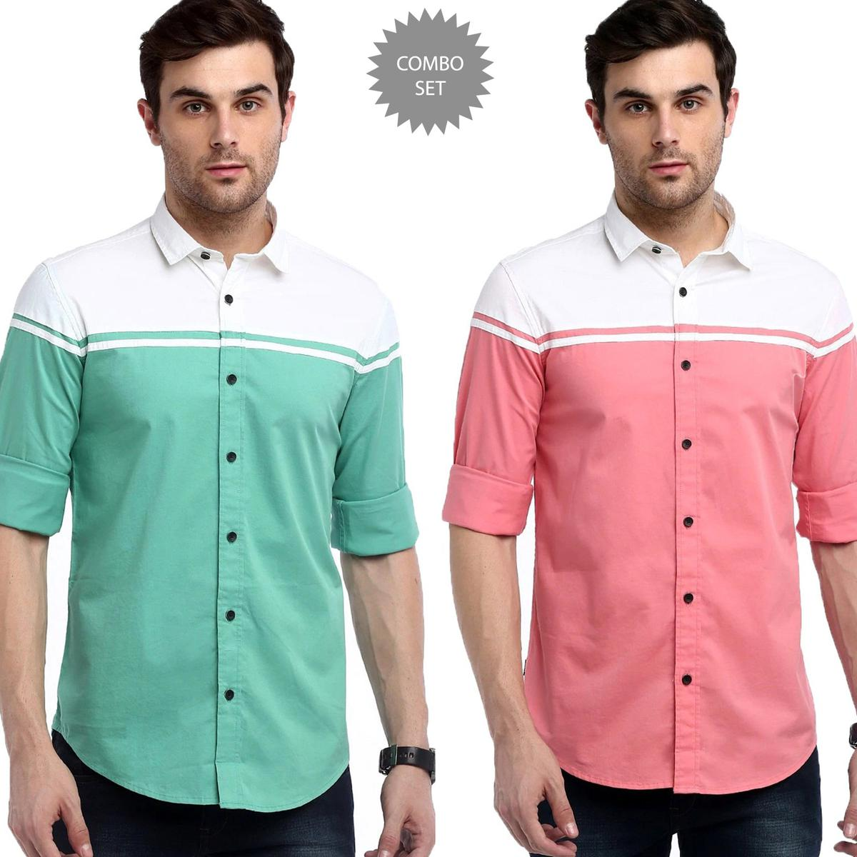 Glowing Casual Wear Pure Cotton Shirts Pack Of 2