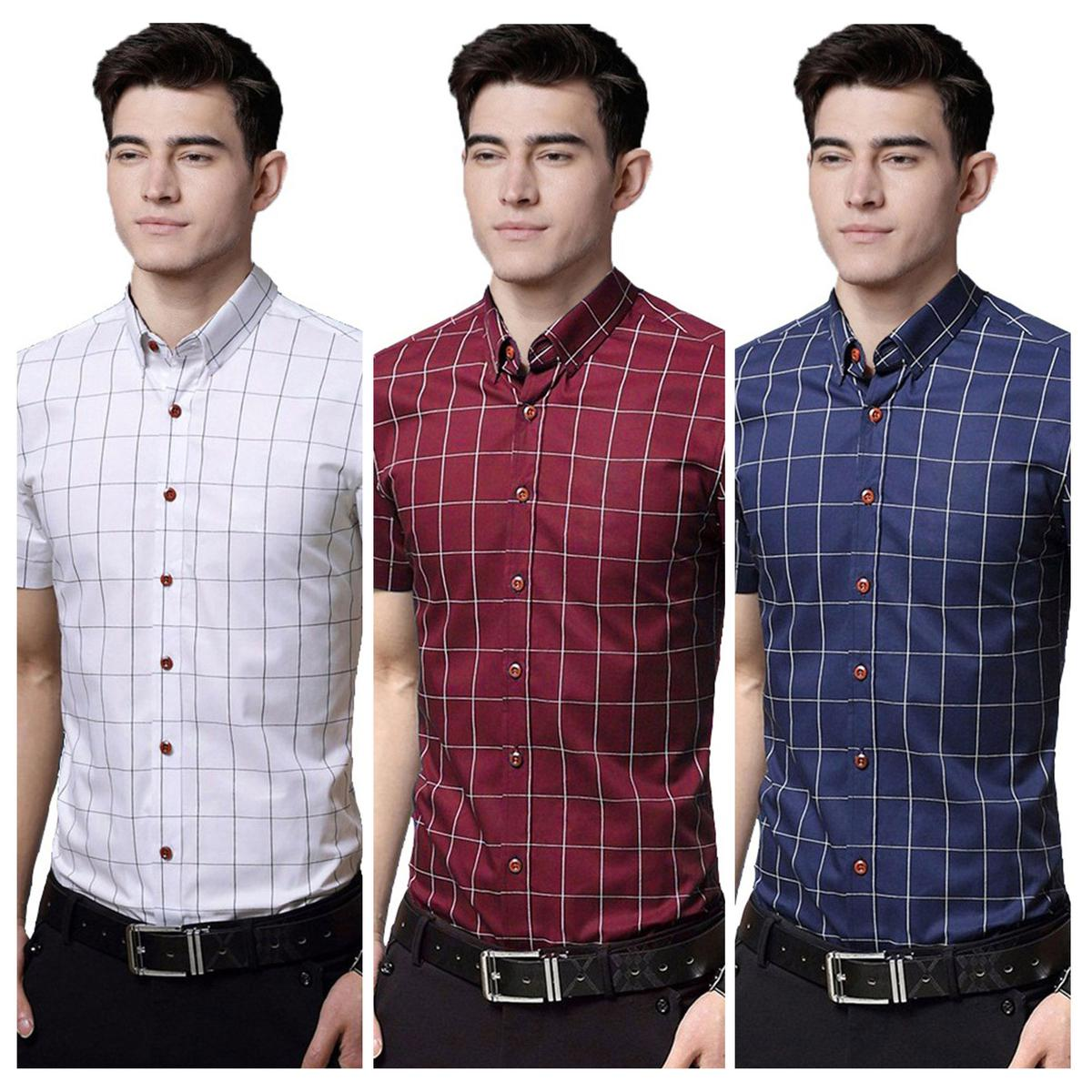 Exceptional Casual Wear Pure Cotton Shirts Pack Of 3