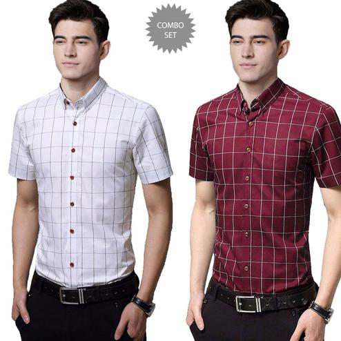 Gleaming Casual Wear Pure Cotton Shirts Pack Of 2