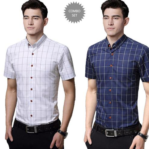 Mesmeric Casual Wear Pure Cotton Shirts Pack Of 2