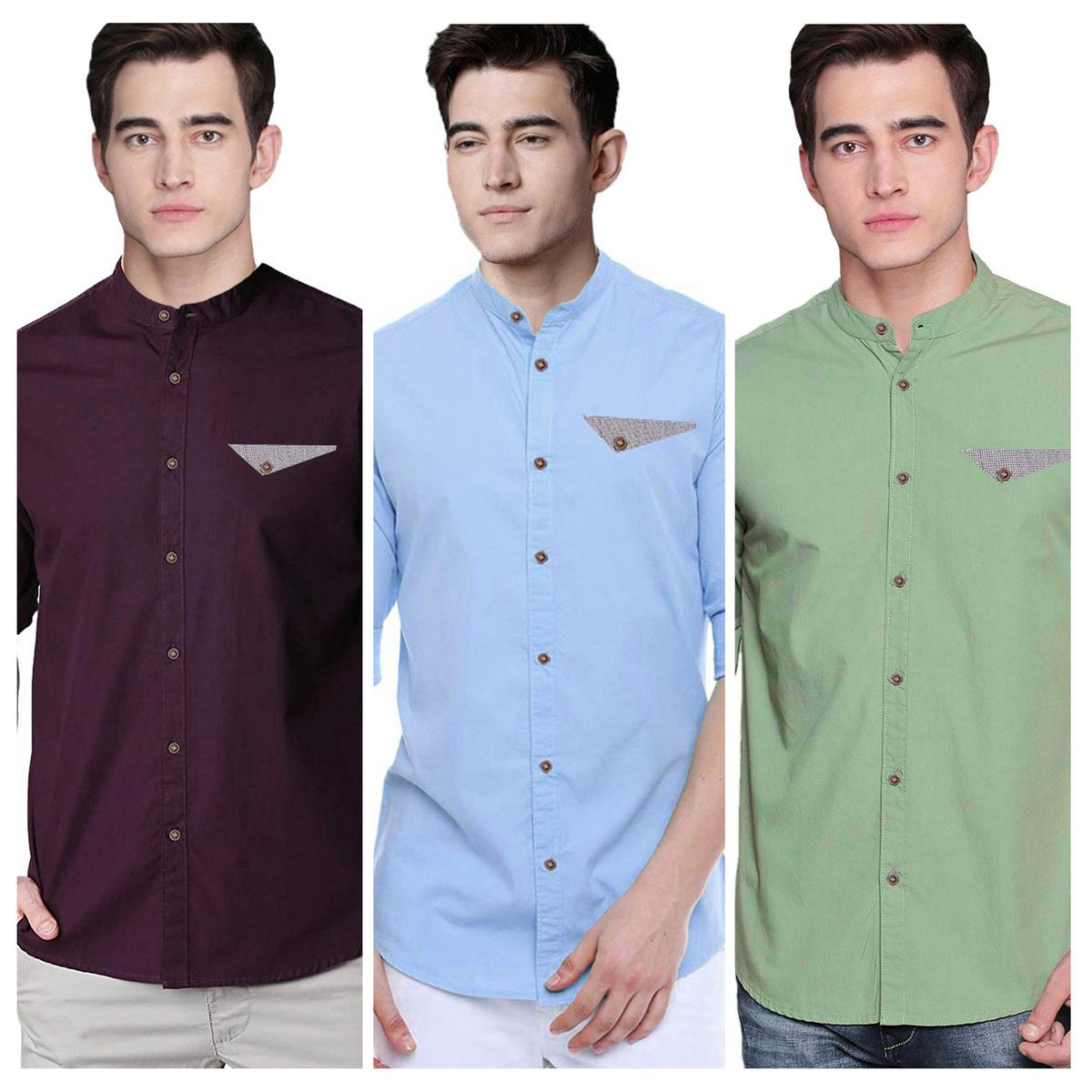 Demanding Casual Wear Pure Cotton Shirts Pack Of 3