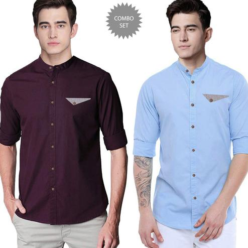 Refreshing Casual Wear Pure Cotton Shirts Pack Of 2
