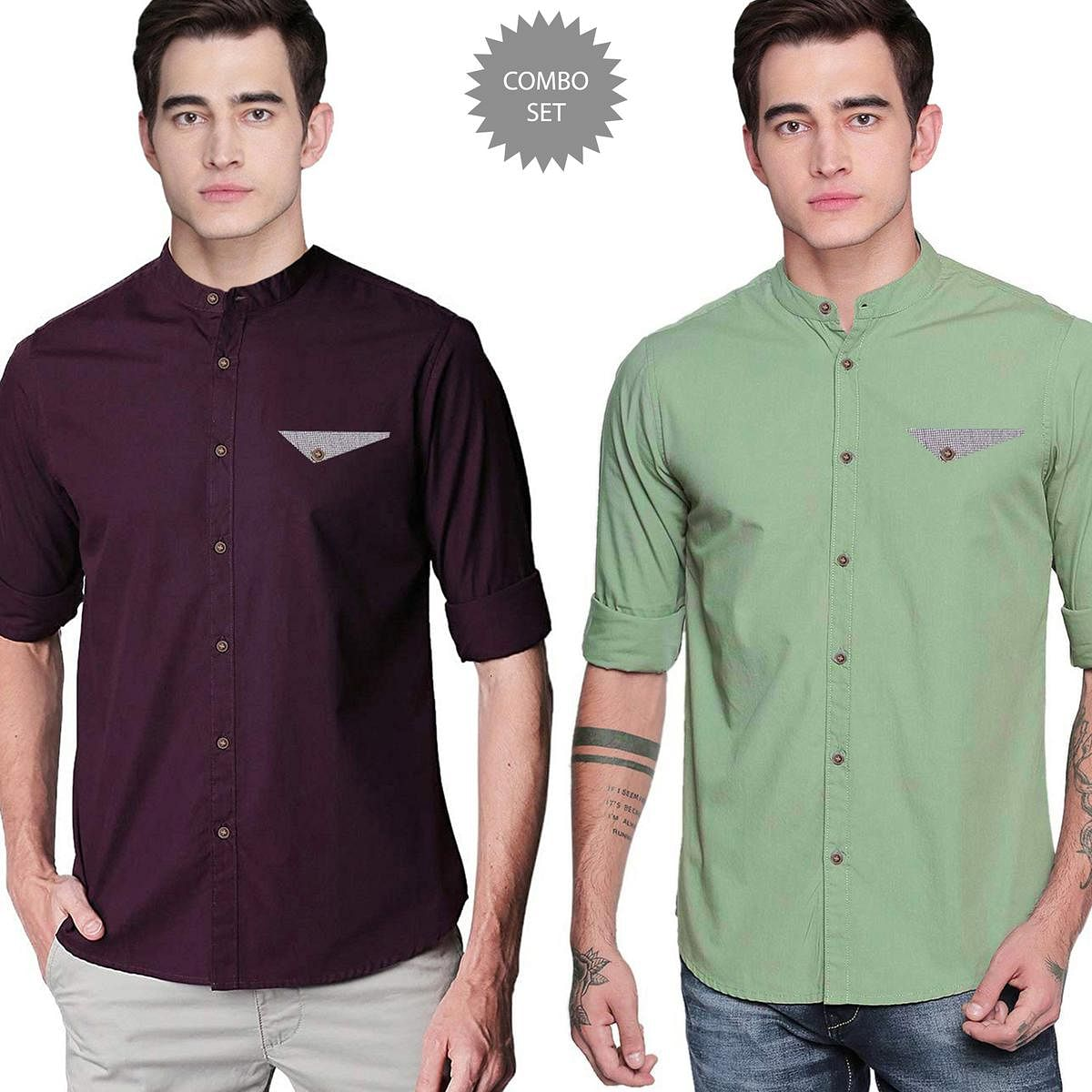 Magnetic Casual Wear Pure Cotton Shirts Pack Of 2