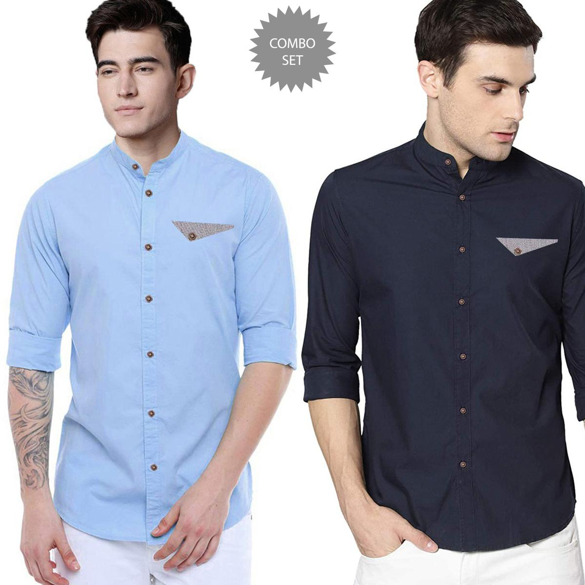 Excellent Casual Wear Pure Cotton Shirts Pack Of 2