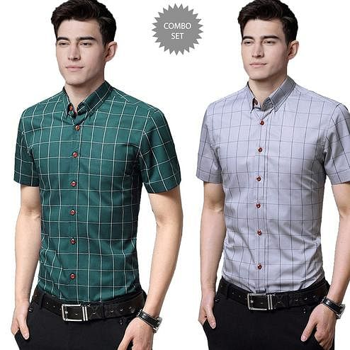 Alluring Casual Wear Pure Cotton Shirts Pack Of 2