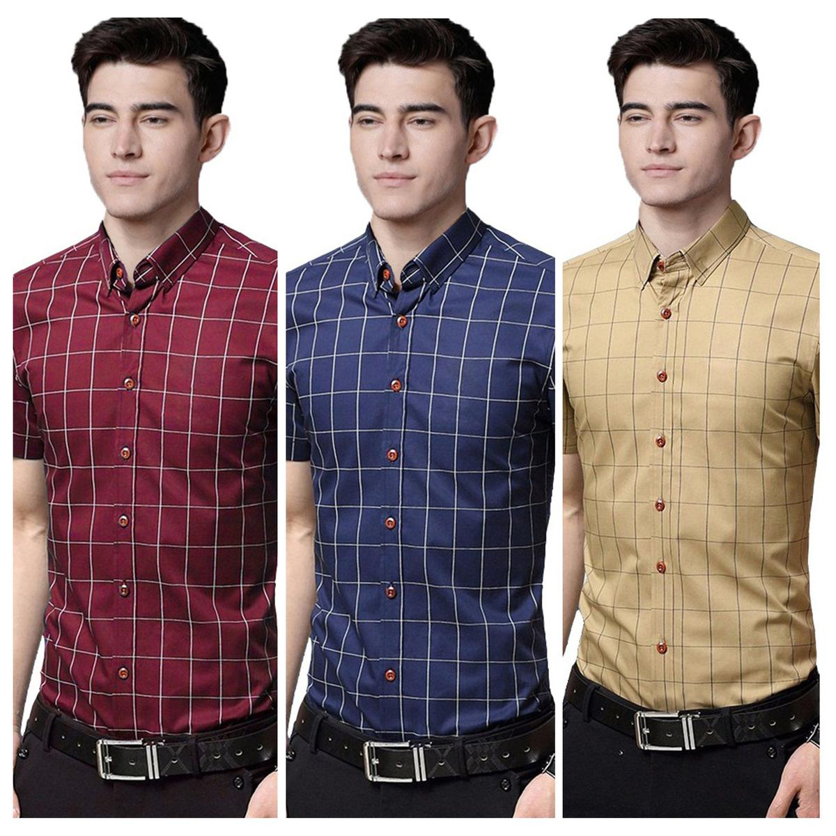 Flaunt Casual Wear Pure Cotton Shirts Pack Of 3