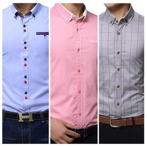 Intricate Casual Wear Pure Cotton Shirts Pack Of 3