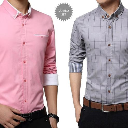 Exotic Casual Wear Pure Cotton Shirts Pack Of 2
