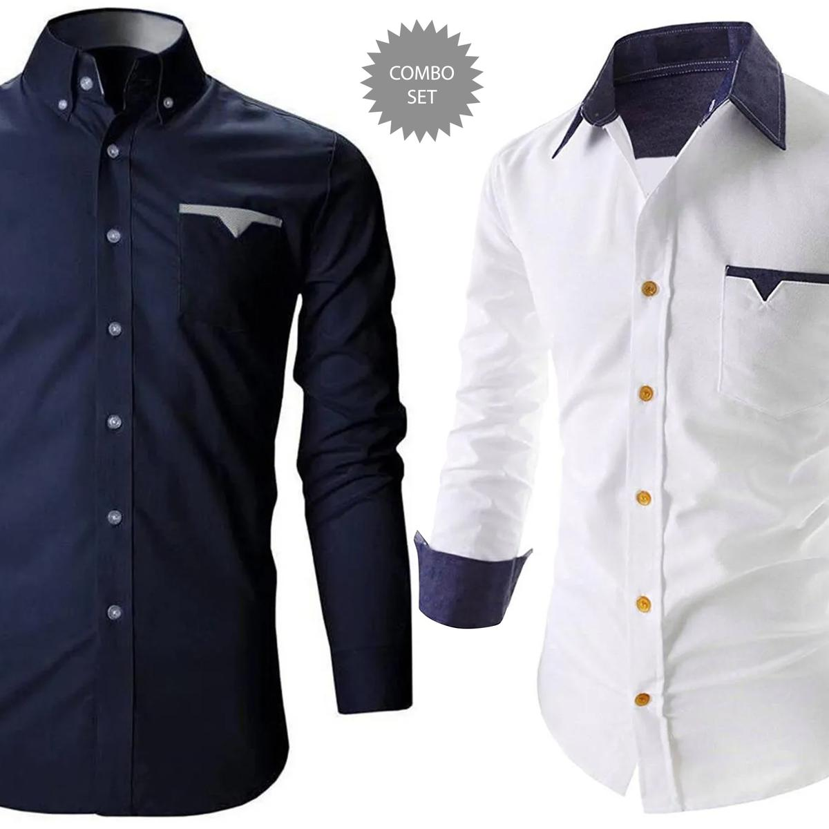Elegant Casual Wear Pure Cotton Shirts Pack Of 2