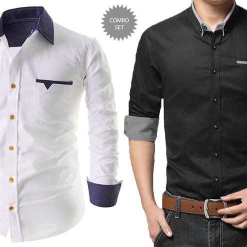 Pleasant Casual Wear Pure Cotton Shirts Pack Of 2