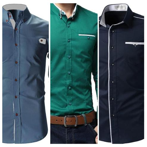 Opulent Casual Wear Pure Cotton Shirts Pack Of 3