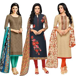 Attractive Printed Casual Wear Dress Materials - Pack of 3