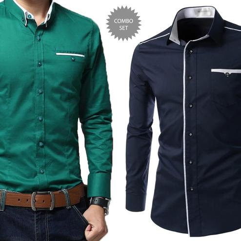Exceptional Casual Wear Pure Cotton Shirts Pack Of 2