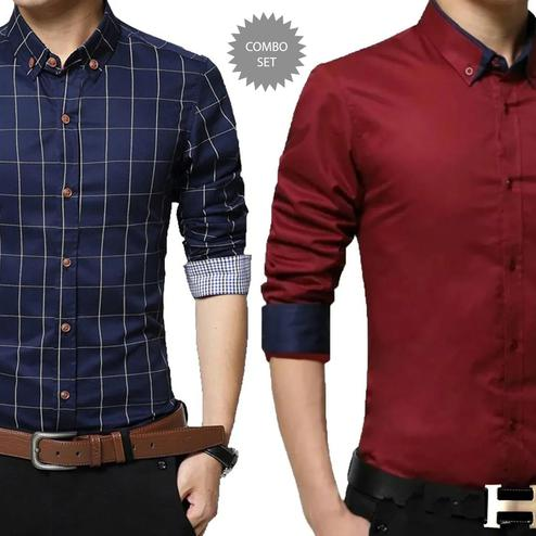 Unique Casual Wear Pure Cotton Shirts Pack Of 2
