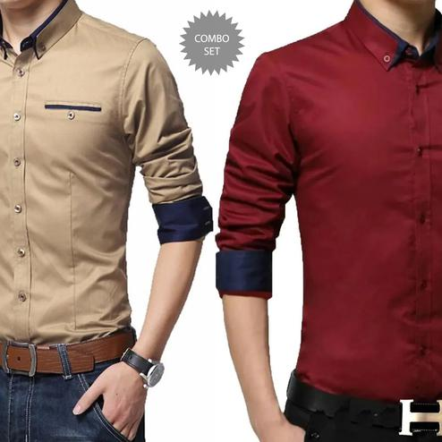 Demanding Casual Wear Pure Cotton Shirts Pack Of 2