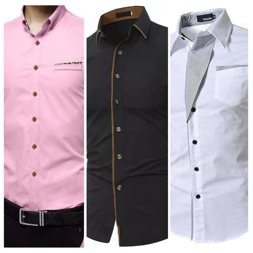 Refreshing Casual Wear Pure Cotton Shirts Pack Of 3