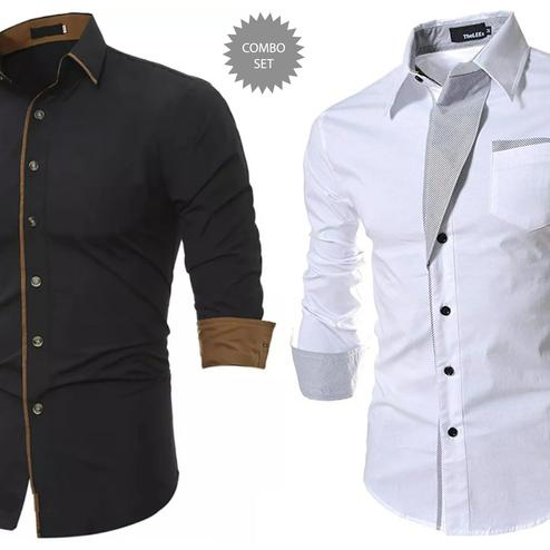 Flattering Casual Wear Pure Cotton Shirts Pack Of 2
