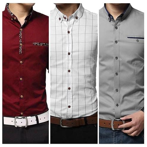 Excellent Casual Wear Pure Cotton Shirts Pack Of 3