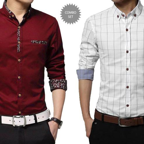 Preferable Casual Wear Pure Cotton Shirts Pack Of 2