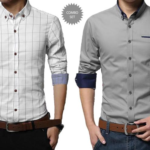 Flamboyant Casual Wear Pure Cotton Shirts Pack Of 2