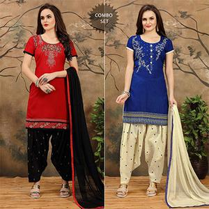 Red - Blue Casual Printed Patiala Combo