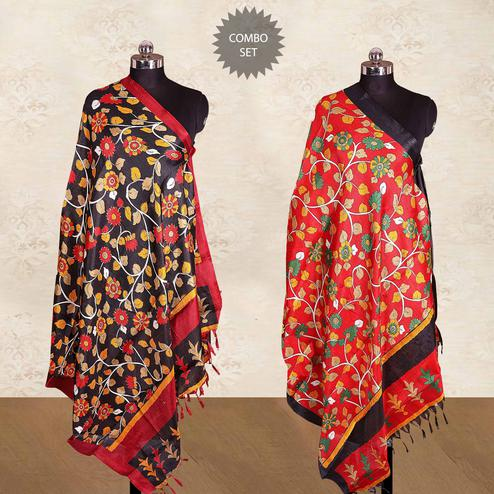 Eye-catching Casual Wear Printed Cotton Blend Dupatta With Tassels - Pack of 2
