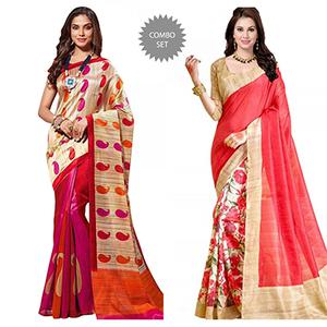 Magenta - Peach Casual Printed Saree