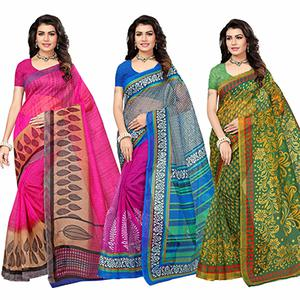 Mesmerising Festive Wear Printed Kota Silk Saree - Pack Of 3