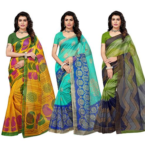 Dazzling Festive Wear Printed Kota Silk Saree - Pack Of 3