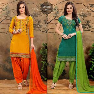 Yellow - Green Indo Cotton Patiala Suit Combo