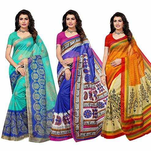 Adorable Festive Wear Printed Kota Silk Saree - Pack Of 3