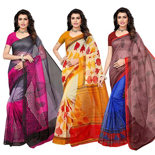 Charming Festive Wear Printed Kota Silk Saree - Pack Of 3