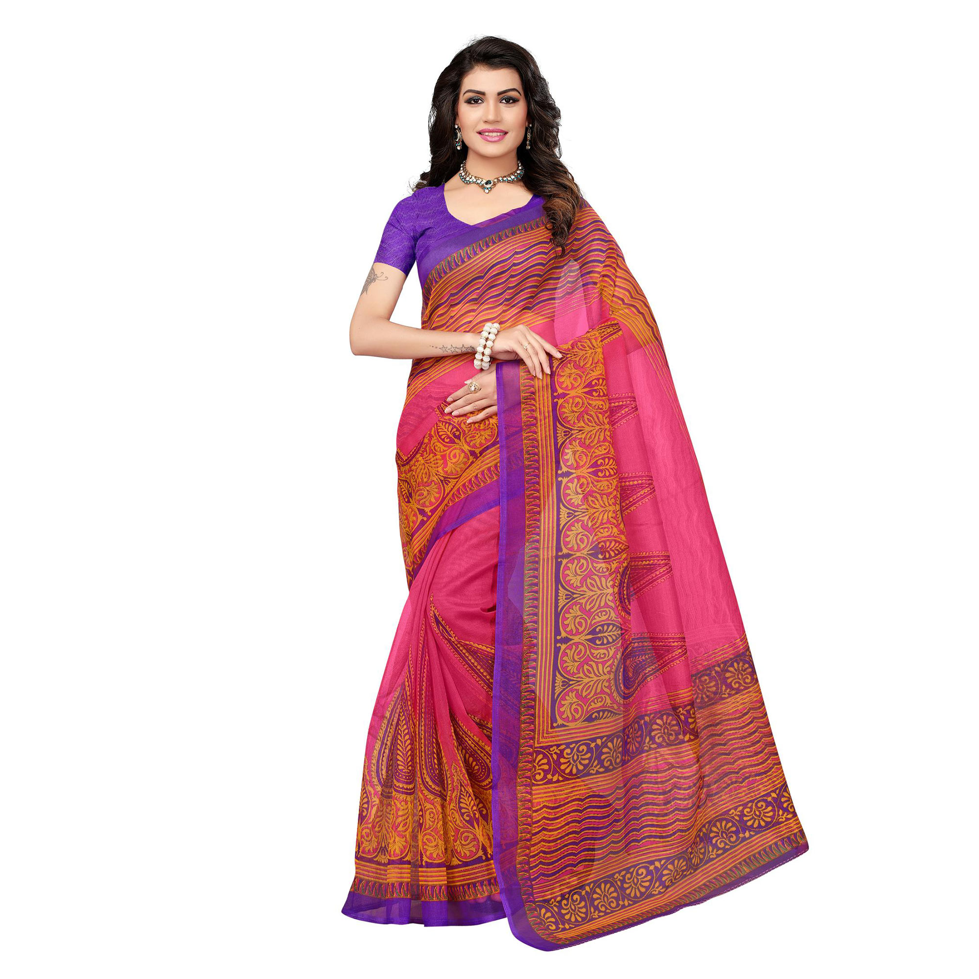 Beautiful Festive Wear Printed Kota Silk Saree - Pack Of 3