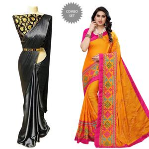 Adorable Party Wear Satin-Chiffon Saree - Pack of 2