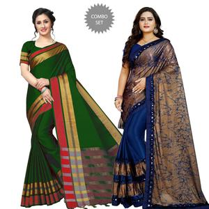 Blooming Festive-Party Wear Art Silk Saree - Pack of 2