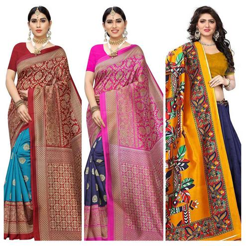 Jazzy Festive-Casual Wear Art Silk Saree - Pack of 3