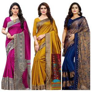 Lovely Printed Art Silk Saree - Pack of 3