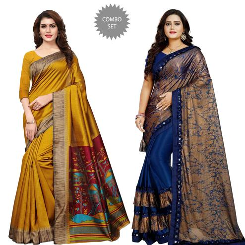 Impressive Printed Art Silk Saree - Pack of 2