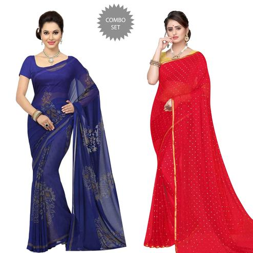 Ethnic Casual-Party Wear Georgette-Chiffon Saree - Pack of 2