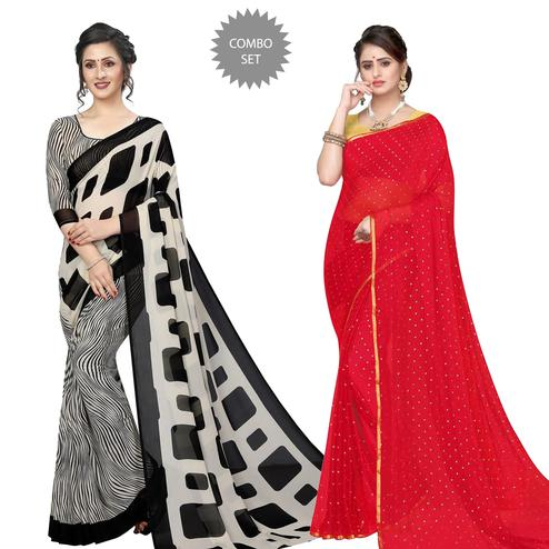 Ravishing Casual-Party Wear Georgette-Chiffon Saree - Pack of 2