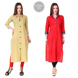 Delightful Casual Wear Cotton Kurtis - Pack of 2