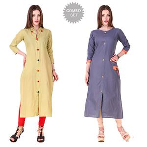 Trendy Casual Wear Cotton Kurtis - Pack of 2