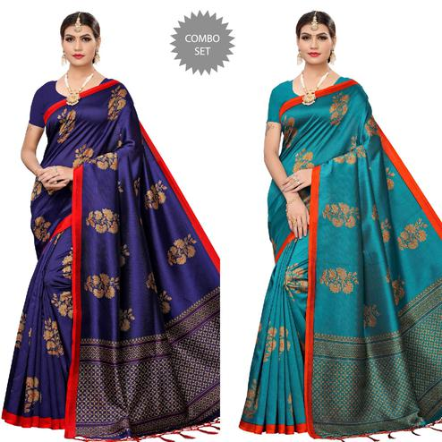 Intricate Navy Blue-Turquoise Colored Festive Wear Printed Art Silk Saree With Tassels - Pack of 2