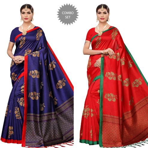 Arresting Navy Blue-Red Colored Festive Wear Printed Art Silk Saree With Tassels - Pack of 2