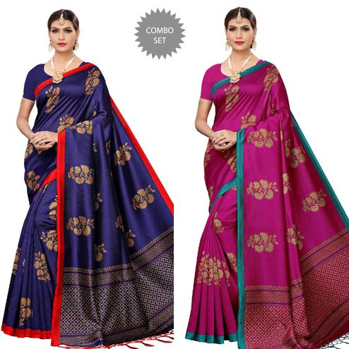 Trendy Nvay Blue-Magenta Pink Colored Festive Wear Printed Art Silk Saree With Tassels - Pack of 2