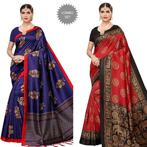 Energetic Nvay Blue-Red Colored Festive Wear Printed Art Silk Saree With Tassels - Pack of 2